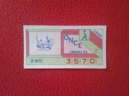 CUPÓN DE ONCE SPANISH LOTERY CIEGOS SPAIN LOTERÍA ESPAÑOLA ESPAÑA BLIND 1986 ANIMALES ÁNIMALS ANIMAL RINOCERONTE RHINO - Billetes De Lotería