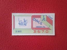 CUPÓN DE ONCE SPANISH LOTERY CIEGOS SPAIN LOTERÍA ESPAÑOLA ESPAÑA BLIND 1986 ANIMALES ANIMALS ANIMAL RINOCERONTE RHINO - Billetes De Lotería