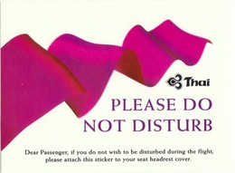 Autocollant Passager THAI AIRWAYS Airlines Passenger Sticker Please Do Not Disturb Années 2000 Avion Aviation Thaïlande - Aufkleber