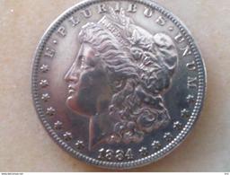 """1 DOLLAR MORGAN ARGENT De 1884 """"O"""" - Émissions Fédérales"""