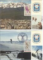 FRANCE Complete Set On 5 Olympic Postcards With Olympic First Day Cancel - Winter 1968: Grenoble