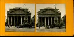 ANCIENNE VUE STÉRÉOSCOPIQUE ROME LE PANTHÉON - Stereoscopic