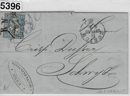 1865 Sitzende Helvetia/Helvétie Assise 31/23 Zürich 18. Sept. 65 To Schwyz (Rebsamen & Naegely Malerbedürfnisse - 1862-1881 Helvetia Assise (dentelés)