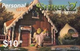 TARJETA TELEFONICA DE ARGENTINA, PREPAGO. PER-0041A, CINE -SHREK 2 - FIONA Y SHREK (037) TRANSTEX - Cinema