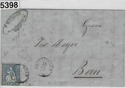 1863 Sitzende Helvetia/Helvétie Assise 31/23 Kreuzlingen 23. Mai 63 To Bern Via Bahnpost Aarau-Winterthur - 1862-1881 Sitzende Helvetia (gezähnt)