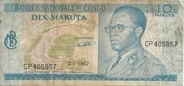 CONGO 10 MAKUTA 1967 VG+ P 9 - Non Classés