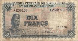 CONGO BELGE 10 FRANCS 1956 VG+ P 30 B - Belgian Congo Bank