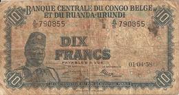 CONGO BELGE 10 FRANCS 1958 VG P 30 B - Belgian Congo Bank