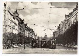 Tchéquie-PRAGUE--1968-- Place St Venceslas (animée,tramways,voitures)--cachet -- Beau Timbre - Tchéquie