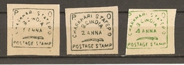 Inde - Charkhari 1897 - Petit Lot De 3 Timbres - 1/2/4 Anna - NSG - Non Dentelés - Charkhari