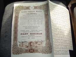 """Part Sociale""""Sté Coloniale Minière""""Colomines  Kule Matundu Congo Belge 1952 Excellent état. - Mines"""