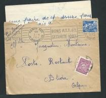 LAC DE PARIS Pour Blida En Avril 1954, Taxe Yvert N°43 Obl. Blida Poste Restante  -  Mald5803 - Algeria (1924-1962)