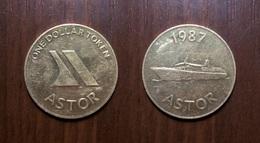 CASINO ASTOR ONE DOLLAR TOKEN 1987 CRUISE LINES SLOT GAMING MACHINE GAME JETON GETTONE Metal Ø30,6mm - Casino
