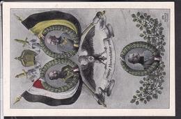 Patriotische Postkarte 1.Weltkrieg Hindenburg , Wilhelm II., Kaiser Franz Josef  , Sign . Otto Herold - Guerre 1914-18