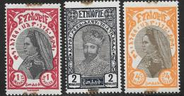 Ethiopia Scott #158-60 Mint Hinged  Zauditu And Tafari, 1928, Edge Stains - Ethiopia