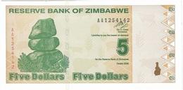 Zimbabue - Zimbabwe 5 Dollars 2009 Pick 93 Serie AA UNC - Zimbabwe