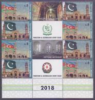 PAKISTAN 2018 - Joint Issue With Azerbaijan, Mosque, Islam, Flags, MNH Gutter Set Block - Pakistán