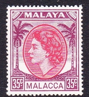 Malaysia-Malacca SG 34 1954 Queen Elizabeth II, 35c Rose-red And Brown Purple, Mint Hinged - Malacca