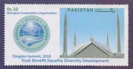 PAKISTAN 2018 - QINGDAO Summit CHINA Shanghai Cooperation Organization, Fisal Mosque, 1v MNH - Pakistan