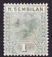 Malaysia-Negri Sembilan SG 2 1891 Tiger 1c Green, Mint No Gum - Negri Sembilan