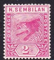 Malaysia-Negri Sembilan SG 3 1891 Tiger 2c Rose, Mint Hinged - Negri Sembilan