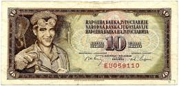 YUGOSLAVIA - 10 Dinara - 01/05/1968 - P 82.b - Sign. 7  - Used - Serie EU - 6 Digit Serial # Without Security Thread - Yugoslavia
