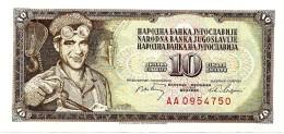 YUGOSLAVIA - 10 Dinara - 01/05/1968 - P 82.c - Sign. 7  - Unc. - Serie AA - 7 Digit Serial # With Security Thread - Yugoslavia