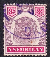 Malaysia-Negri Sembilan SG 7 1895 Tiger 3c Dull Purple And Carmine, Used - Negri Sembilan