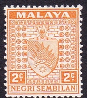 Malaysia-Negri Sembilan SG 23 1941 Arms, 2c Orange, Mint Hinged - Negri Sembilan