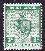 Malaysia-Negri Sembilan SG 24 1941 Arms, 3c Green, Mint Hinged - Negri Sembilan