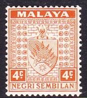 Malaysia-Negri Sembilan SG 25 1935 Arms, 4c Orange, Mint Hinged - Negri Sembilan