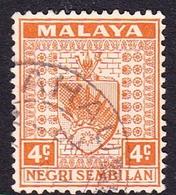 Malaysia-Negri Sembilan SG 25 1935 Arms, 4c Orange, Used - Negri Sembilan