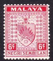 Malaysia-Negri Sembilan SG 27 1937 Arms, 6c Scarlet, Mint Hinged - Negri Sembilan