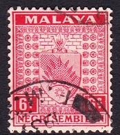 Malaysia-Negri Sembilan SG 27 1937 Arms, 6c Scarlet, Used - Negri Sembilan