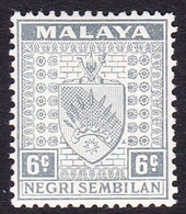 Malaysia-Negri Sembilan SG 28 1941 Arms, 6c Grey, Mint Hinged - Negri Sembilan