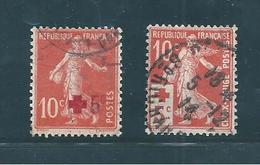 France Semeuse  N°146/47 Croix Rouge Oblitéré - 1906-38 Semeuse Con Cameo