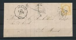 1874 Lettre N°59 Obl Conv. Station Arnage T.MANS C17 Annulé SARTHE(71) P4474 - Postmark Collection (Covers)