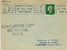 """Oct. 45  Enveloppe Ouverte Affr. 80 C Dulac Oblit. R B V  """" CONFERENCE INTERale / DU TRAVAIL-PARIS / XXVIIè SESSION """" - Storia Postale"""