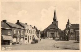 CPA. WASMES. L'église. Brasserie Du Commerce Labor, Maison  Flament. Pub Belga, Voitures. - Colfontaine