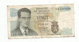 Billet , Royaume De Belgique , Koninkrijk Belgie , 20 Francs , Frank , 15.06.64 , Tresorerie , Thesaurie, 2 Scans - Other