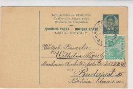 Ganzsache Mit Zusatzfrankatur Aus ZUPANJE 9.5.36 Nach Budapest - 1931-1941 Royaume De Yougoslavie