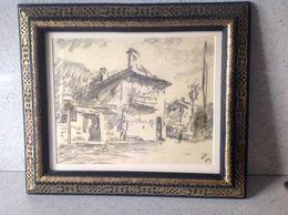"""PIZZIRANI GUGLIELMO Pittore Bolognese (1886-1971) Disegno Cm.23 X 28,5 """" Case """" - Disegni"""