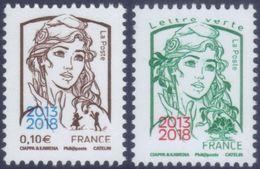 France Marianne De La Jeunesse Par Ciappa Et Kawena N° En Cours ** Les Gommés 0.10 Et TVP Vert Surchargés - 2013-... Marianne De Ciappa-Kawena