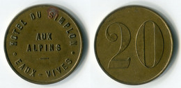 N93-0488 - Monnaie De Nécessité - Suisse - Genève - Eaux-Vives - Hôtel Du Simplon - Aux Alpins - 20 Centimes - Monétaires / De Nécessité