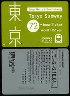 TOKYO Japan - TOEI Metro Subway Ticket - 2018 - 72 Hour - Used - Wochen- U. Monatsausweise
