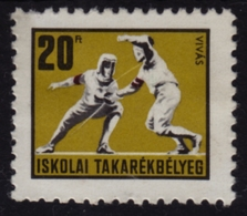 FENCING - School Bank / Children Savings Stamps / Revenue Stamp - 1970's HUNGARY - Used - Fencing