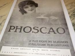 ANCIENNE PUBLICITE CHOCOLAT PHOSCAO ESSAIS GRATUIT   1915 - Posters