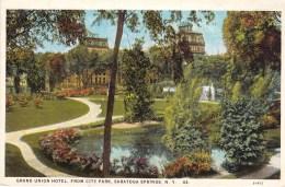 Grand Union Hotel From City Park, Saratoga Springs, New York, USA Vintage Unused - Saratoga Springs