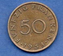 Sarre -  50 Franken 1954   - état  TTB - Sarre