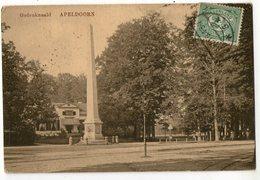 CPA    APELDOORN    1919     GEDENKNAALD     MONUMENT HOMMAGE AUX PARENTS DE LA REINE WILHELMINE - Apeldoorn
